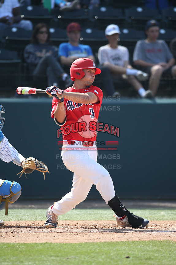 Cal Stevenson (3) of the Arizona Wildcats bats against the UCLA Bruins at Jackie Robinson Stadium on March 19, 2017 in Los Angeles, California. UCLA defeated Arizona, 8-7. (Larry Goren/Four Seam Images)