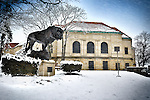 DAI or Dayton Art Institute on snowy winter day, showing Leo the statue in front