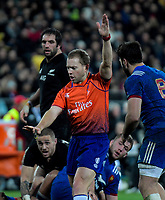 Referee Angus Gardiner awards a late penalty to France during the Steinlager Series international rugby match between the New Zealand All Blacks and France at Westpac Stadium in Wellington, New Zealand on Saturday, 16 June 2018. Photo: Dave Lintott / lintottphoto.co.nz