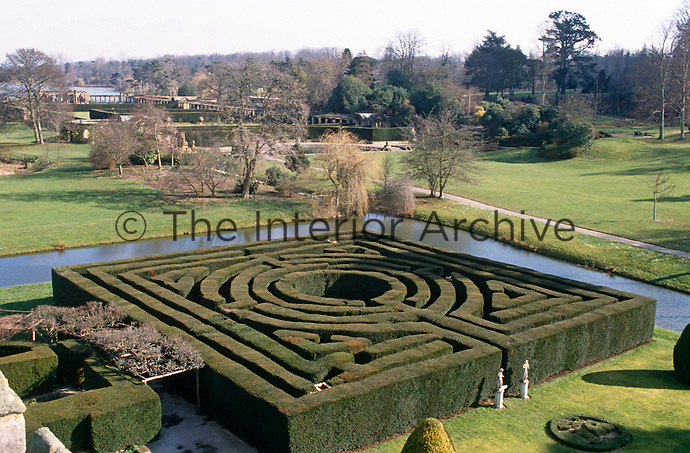 The ancient maze in the grounds of Hever Castle is surrounded by a moat and overlooks the Italian Gardens