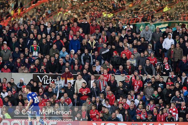 Nottingham Forest fans in the Trent End watching the action at the City Ground, Nottingham as Nottingham Forest take on visitors Ipswich Town in an Npower Championship match. Forest won the match by two goals to nil in front of 22,935 spectators.
