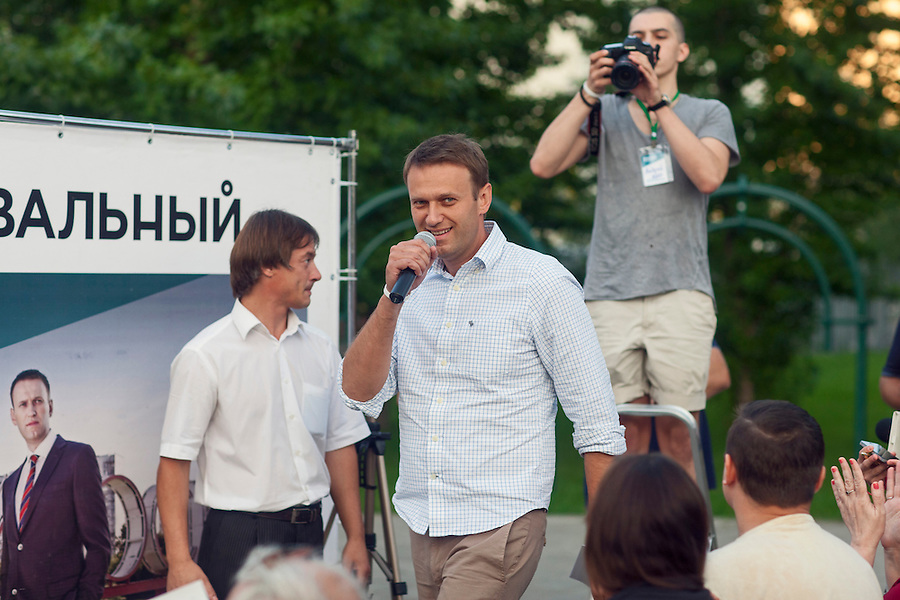 Moscow, Russia, 13/08/2013.<br /> Russian opposition blogger and political activist Alexei Navalny arrives at a campaign meeting in a central Moscow park as he campaigns as a candidate for Moscow Mayor in elections scheduled for September 8th.
