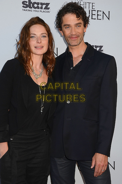 Rebecca Ferguson &amp; James Frain<br /> Dame Barbara Hay hosts a reception for Starz original show &quot;The White Queen&quot; by best selling author Philipa Gregory in Los Angeles, CA., USA.<br /> July 25th, 2013<br /> half length top blazer  silver necklace black blue <br /> CAP/ADM/BT<br /> &copy;Birdie Thompson/AdMedia/Capital Pictures