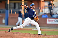 Asheville Tourists starting pitcher Alex Balog #34 delivers a pitch during a game against the Rome Braves at McCormick Field on May 1, 2014 in Asheville, North Carolina. The Tourists defeated the Braves 8-7. (Tony Farlow/Four Seam Images)
