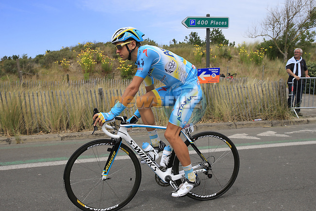 Tanel Kangert (EST) Astana in Le Touquet for the start of Stage 4 of the 2014 Tour de France running 163.5km from Le Touquet to Lille. 8th July 2014.<br /> Picture: Eoin Clarke www.newsfile.ie