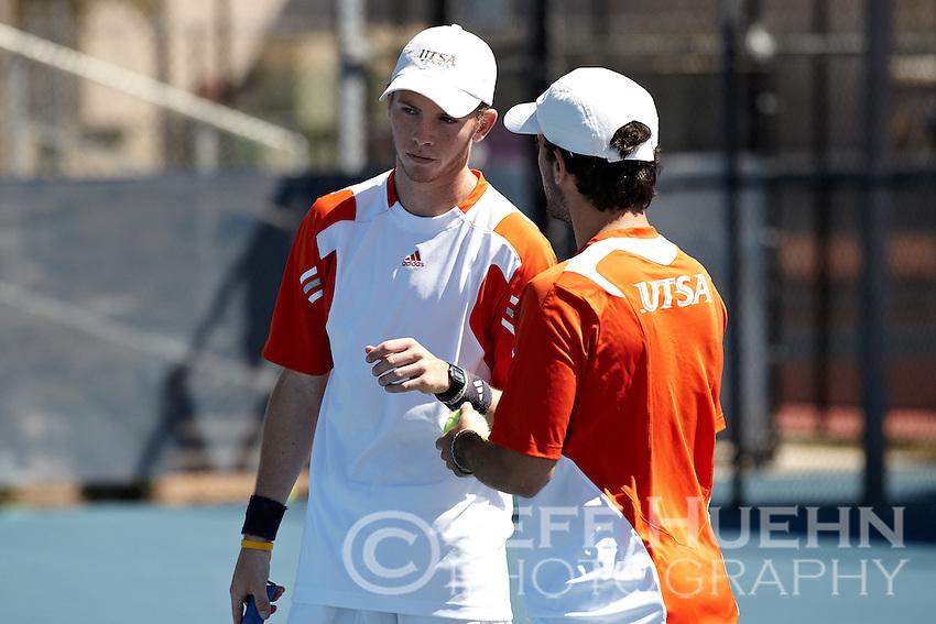 SAN ANTONIO, TX - MARCH 4, 2012: The University of Portland Pilots vs. The University of Texas at San Antonio Roadrunners Men's Tennis at the UTSA Tennis Center. (Photo by Jeff Huehn)
