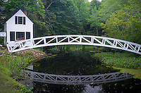 Somesville, Mount Desert Island, Maine:<br /> Selectmen's building (1870) and Thaddeus Somes Memorial bridge reflecting in summer pond.