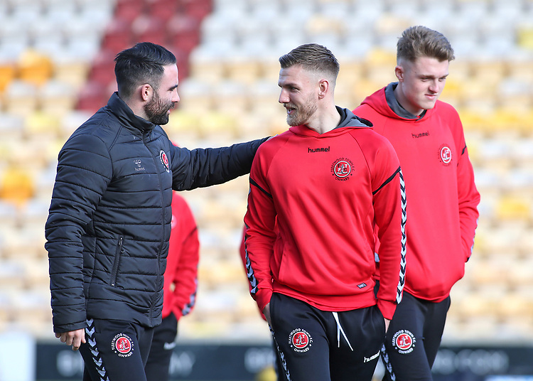 The Fleetwood Town players inspect the pitch before kick off<br /> <br /> Photographer David Shipman/CameraSport<br /> <br /> The EFL Sky Bet League One - Bradford City v Fleetwood Town - Saturday 9th February 2019 - Valley Parade - Bradford<br /> <br /> World Copyright &copy; 2019 CameraSport. All rights reserved. 43 Linden Ave. Countesthorpe. Leicester. England. LE8 5PG - Tel: +44 (0) 116 277 4147 - admin@camerasport.com - www.camerasport.com
