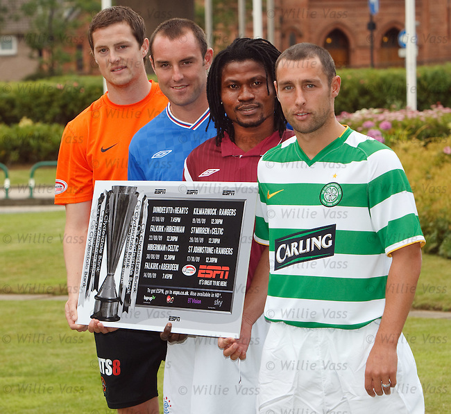 Lareya Kingston, Kris Boyd, Scott McDonald and Jon Daly with ESPN's Scottish football line up for the start of season 2009-10