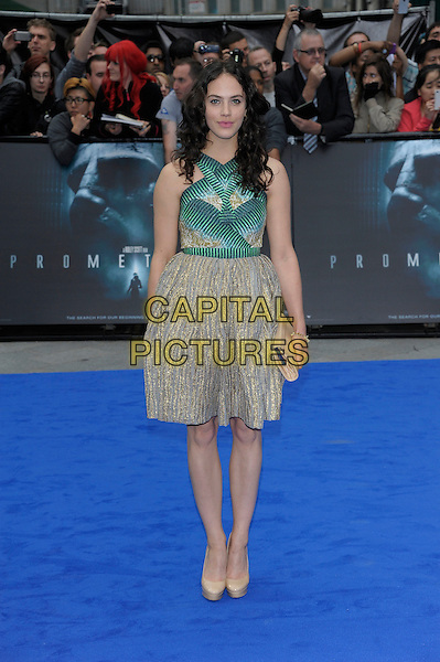 Jessica Brown-Findlay.'Prometheus' world film premiere, Empire cinema, Leicester Square, London, England..31st May 2012.full length beige dress green print gold sleeveless .CAP/PL.©Phil Loftus/Capital Pictures.