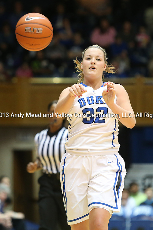 27 January 2013: Duke's Tricia Liston. The Duke University Blue Devils played the Boston College Eagles at Cameron Indoor Stadium in Durham, North Carolina in an NCAA Division I Women's Basketball game. Duke won the game 80-56.