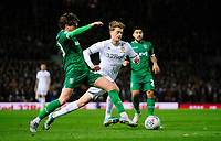 Leeds United's Patrick Bamford vies for possession with Sheffield Wednesday's Adam Reach<br /> <br /> Photographer Chris Vaughan/CameraSport<br /> <br /> The EFL Sky Bet Championship - Leeds United v Sheffield Wednesday - Saturday 11th January 2020 - Elland Road - Leeds<br /> <br /> World Copyright © 2020 CameraSport. All rights reserved. 43 Linden Ave. Countesthorpe. Leicester. England. LE8 5PG - Tel: +44 (0) 116 277 4147 - admin@camerasport.com - www.camerasport.com