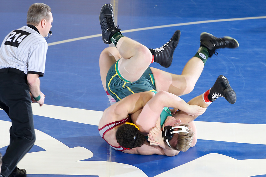 during their 285-pound quarterfinal bout at the 2018 NJSIAA State Wrestling Championships at Atlantic City's Historic Boardwalk Hall on Saturday, March 3, 2018.