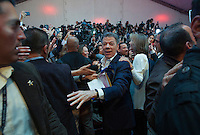 BOGOTA, Colombia. 15th June 2014. The President of Colombia Juan Manuel Santos celebrates after winning the runoff for presidential election in Bogota. Photo by Campaign/Eliana Aponte / VIEWpress TO EDITORS : THIS PICTURE WAS PROVIDED BY A THIRD PARTY.  THIS PICTURE IS DISTRIBUTED EXACTLY AS RECEIVED BY VIEWpress, AS A SERVICE TO CLIENTS