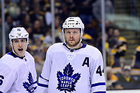 April 25, 2018: Toronto Maple Leafs defenseman Morgan Rielly (44) sports fresh stitches during game seven of the first round of the National Hockey League's Eastern Conference Stanley Cup playoffs between the Toronto Maple Leafs and the Boston Bruins held at TD Garden, in Boston, Mass. Boston defeats Toronto 7-4 and wins the best of seven series 4 games to 3 to advance to round two.