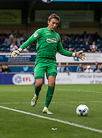 Goalkeeper Sam Walker of Colchester United during the Sky Bet League 2 match between Wycombe Wanderers and Colchester United at Adams Park, High Wycombe, England on 27 August 2016. Photo by Liam McAvoy.