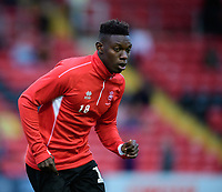 Lincoln City's Bernard Mensah during the pre-match warm-up<br /> <br /> Photographer Chris Vaughan/CameraSport<br /> <br /> The EFL Checkatrade Trophy Group H - Lincoln City v Mansfield Town - Tuesday September 4th 2018 - Sincil Bank - Lincoln<br />  <br /> World Copyright © 2018 CameraSport. All rights reserved. 43 Linden Ave. Countesthorpe. Leicester. England. LE8 5PG - Tel: +44 (0) 116 277 4147 - admin@camerasport.com - www.camerasport.com