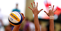 Players in action at the Beach Volleyball World Tour Grand Slam, Foro Italico, Rome, 22 June 2013. Brazil defeated Germany 2-1.<br /> UPDATE IMAGES PRESS/Isabella Bonotto