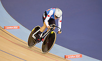 06 AUG 2012 - LONDON, GBR - Tara Whitten (CAN) of Canada  rides her Flying Lap during the first day of the Women's Omnium in the London 2012 Olympic Games track cycling at the Olympic Park Velodrome in Stratford, London, Great Britain .(PHOTO (C) 2012 NIGEL FARROW)