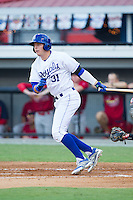 Riley King (31) of the Burlington Royals follows through on his swing against the Johnson City Cardinals at Burlington Athletic Park on July 14, 2014 in Burlington, North Carolina.  The Cardinals defeated the Royals 9-4.  (Brian Westerholt/Four Seam Images)