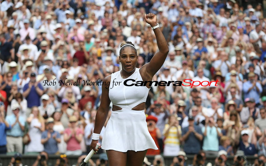 Serena Williams (USA) celebrates after winning her match against Alison Riske (USA) in their Ladies' Singles Quarter-Finals match<br /> <br /> Photographer Rob Newell/CameraSport<br /> <br /> Wimbledon Lawn Tennis Championships - Day 8 - Tuesday 9th July 2019 -  All England Lawn Tennis and Croquet Club - Wimbledon - London - England<br /> <br /> World Copyright © 2019 CameraSport. All rights reserved. 43 Linden Ave. Countesthorpe. Leicester. England. LE8 5PG - Tel: +44 (0) 116 277 4147 - admin@camerasport.com - www.camerasport.com