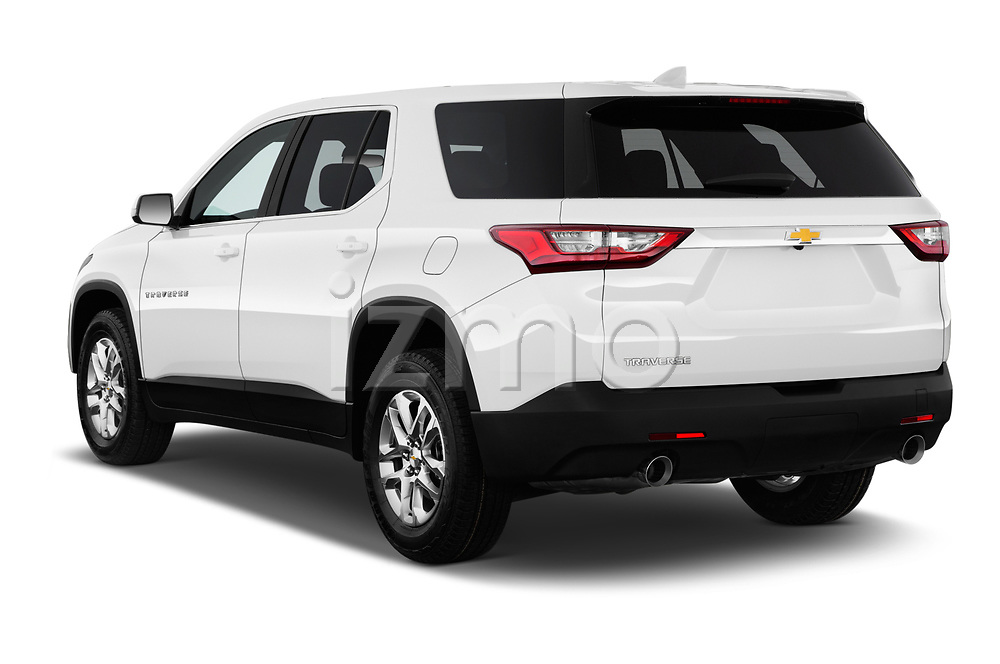 Car pictures of rear three quarter view of a 2018 Chevrolet Traverse LS 5 Door SUV angular rear