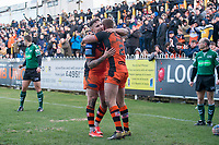 Picture by Allan McKenzie/SWpix.com - 11/02/2018 - Rugby League - Betfred Super League - Castleford Tigers v Widnes Vikings - the Mend A Hose Jungle, Castleford, England - Castleford's Greg Minikin is congratulated by Jamie Ellis on scoring a try against Widnes.