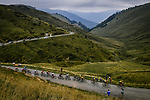 Team Jumbo-Visma drive the pace on the front of the peloton as they climb the Col de Peyresourde during Stage 8 of Tour de France 2020, running 141km from Cazeres-sur-Garonne to Loudenvielle, France. 5th September 2020. <br /> Picture: ASO/Pauline Ballet | Cyclefile<br /> All photos usage must carry mandatory copyright credit (© Cyclefile | ASO/Pauline Ballet)
