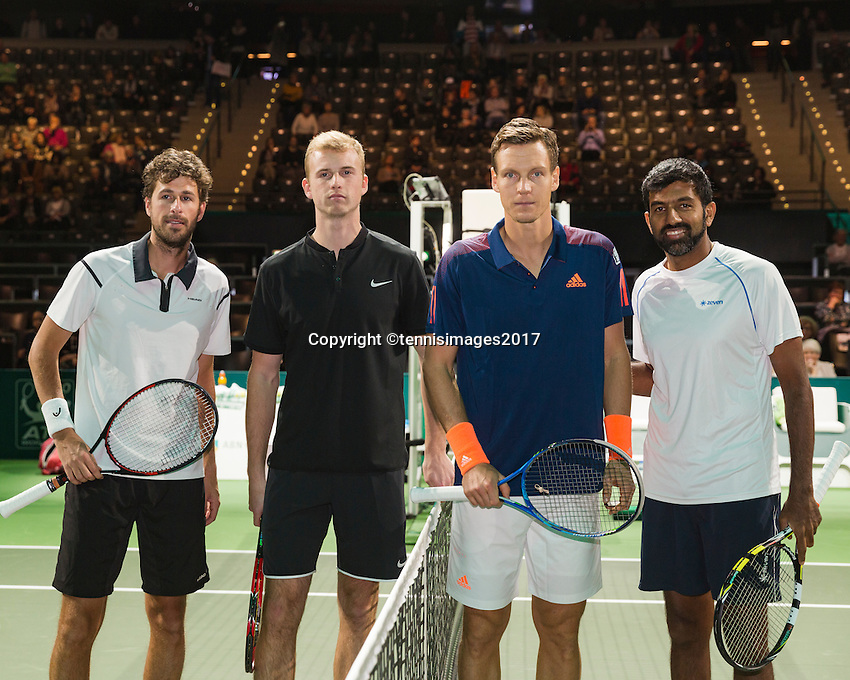 ABN AMRO World Tennis Tournament, Rotterdam, The Netherlands, 14 februari, 2017, Glenn Smit (NED), Robin Haase (NED), Rohan Bopanna (IND), Tomas Berdych (CZE)<br /> Photo: Henk Koster