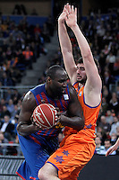 FC Barcelona Regal's Nathan Jawai (l) and Valencia Basket Club's Bojan Dubljevic during Spanish Basketball King's Cup Final match.February 07,2013. (ALTERPHOTOS/Acero)