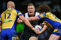 Picture by Alex Whitehead/SWpix.com - 29/09/2017 - Rugby League - Betfred Super League Semi-Final - Leeds Rhinos v Hull FC - Headingley Carnegie Stadium, Leeds, England - Hull FC's Chris Green is tackled by Leeds' Carl Ablett and Anthony Mullally,