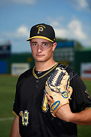 Bristol Pirates pitcher Alec Rennard (19) poses for a photo before a game against the Elizabethton Twins on July 29, 2018 at Joe O'Brien Field in Elizabethton, Tennessee.  Bristol defeated Elizabethton 7-4.  (Mike Janes/Four Seam Images)