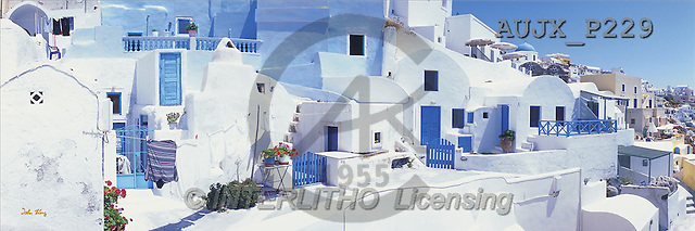 Dr. Xiong, LANDSCAPES, panoramic, photos, White Houses, Santorini, Greece(AUJXP229,#L#)