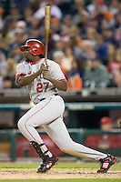 Los Angeles Angels right fielder Vladimir Guerrero (27) follows through on his swing versus the Detroit Tigers at Comerica Park in Detroit, MI, Sunday, April 27, 2008.