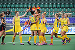 The Hague, Netherlands, June 05: Australia Anna Flanagan #9 is congratulated by teammates during the field hockey group match (Men - Group A) between Belgium and Australiaon June 5, 2014 during the World Cup 2014 at Kyocera Stadium in The Hague, Netherlands. Final score 2:3 (1:1) (Photo by Dirk Markgraf / www.265-images.com) *** Local caption ***