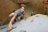NWA Democrat-Gazette/FLIP PUTTHOFF <br /> Liam Anderson, 11, of Fayetteville is reaching new heights in competitive climbing. He's the 2019 national champion in speed climbing in the boys 10-and-under division.