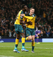 2nd November 2019; Hampden Park, Glasgow, Scotland; Scottish League Cup Football, Hibernian versus Celtic; Callum McGregor celebrates with Odsonne Edouard of Celtic after he makes it 2-0 to Celtic in the 21st minute - Editorial Use