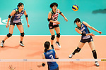 Wing spiker Risa Shinnabe of Japan (R) pass during the FIVB Volleyball World Grand Prix match between Japan vs Russia on 23 July 2017 in Hong Kong, China. Photo by Marcio Rodrigo Machado / Power Sport Images