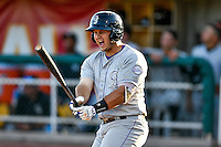 Hunter Melton (15) of the Grand Junction Rockies at bat against the Orem Owlz in Pioneer League action at Home of the Owlz on July 7, 2016 in Orem, Utah. The Owlz defeated the Rockies 15-3. (Stephen Smith/Four Seam Images)