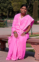 Agra, India.  Indian Woman from Maharashtra State Visiting the Taj Mahal.