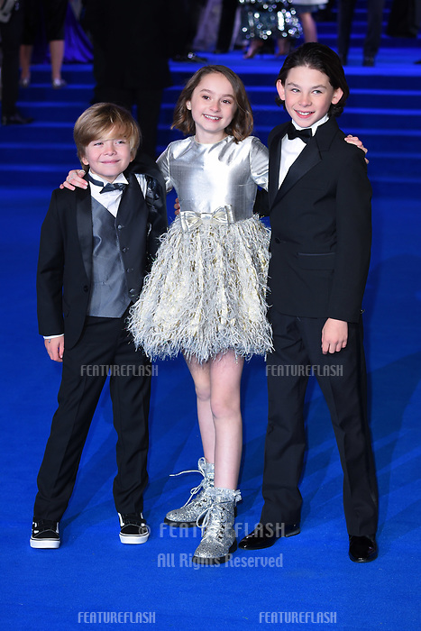 LONDON, UK. December 12, 2018: Joel Dawson, Pixie Davies &amp; Nathanael Saleh at the UK premiere of &quot;Mary Poppins Returns&quot; at the Royal Albert Hall, London.<br /> Picture: Steve Vas/Featureflash