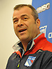 Alain Vigneault, New York Rangers head coach, manages to have a lighthearted moment as speaks to the media at Madsion Square Garden Training Center in Greenburgh, NY on Thursday, May 11, 2017. The Rangers' season ended on Tuesday, May 9 when the team lost to the Ottawa Senators four games to two in the second round of the Stanley Cup Playoffs.