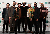 Il regista Gianluca Grandinetti (C) posa con il gruppo musicale Negramaro, (da sinistra) Ermanno Carla, Andrea Mariano, Danilo Tasco, Giuliano Sangiorgi, Emanuele Spedicato e Andrea De Rocco durante il photocall per la presentazione del film 'Negramaro. L'anima vista da qui' alla 14^ Festa del Cinema di Roma all'Aufditorium Parco della Musica di Roma, 25 ottobre 2019.<br /> IItalian director Gianluca Grandinetti (C) poses with the members of the Italian band Negramaro with (L-R) Ermanno Carla, Andrea Mariano, Danilo Tasco, Giuliano Sangiorgi, Emanuele Spedicato and Andrea De Rocco,  for a photocall to present the movie 'Negramaro. L'anima vista da qui' during the 14^ Rome Film Fest at Rome's Auditorium, on 25 October 2019.<br /> UPDATE IMAGES PRESS/Isabella Bonotto