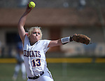 Western Nevada College's Carlee Beck pitches against Snow College at Edmonds Sports Complex in Carson City, Nev., on Friday, March 6, 2014. WNC won the first game of the series 3-1. <br /> Photo by Cathleen Allison/Nevada Photo Source