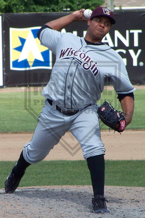 BELOIT - MAY 2009: Wily Peralta of the Wisconsin Timber Rattlers, Class-A affiliate of the Milwaukee Brewers, in action during a game on May 24, 2009 at Pohlman Field in Beloit, Wisconsin. (Photo by Brad Krause)