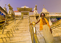 A saddhu (holy man) at the steps to the Jagdish Temple, Udaipur, Rajasthan, India