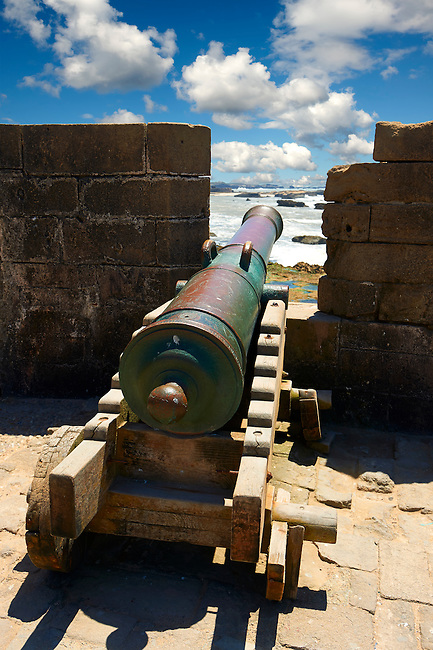 Dutch cannon made by Adrianus Crans in The Hague in 1744 on the Portuguese fortifications of Mogador or Mogadore. Essaouira, Morocco