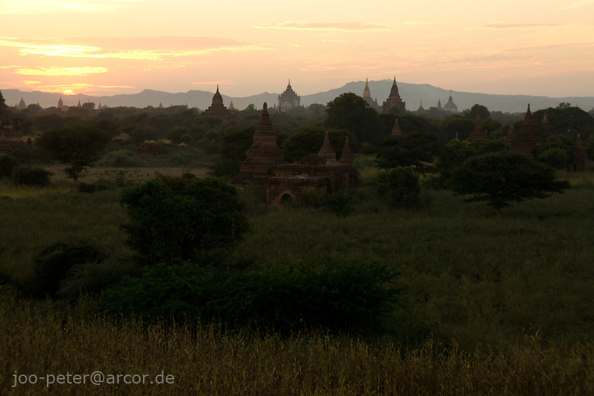 sunset view on Bagan archeological site from Buledi (or Bulethi) temple, Myanmar