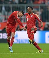 FUSSBALL  CHAMPIONS LEAGUE  VIERTELFINALE  HINSPIEL  2012/2013      FC Bayern Muenchen - Juventus Turin       02.04.2013 Jubel nach dem 1:0: Franck Ribery (li) und David Alaba (re, beide FC Bayern Muenchen) jubeln ueber das Tor zum 1:0