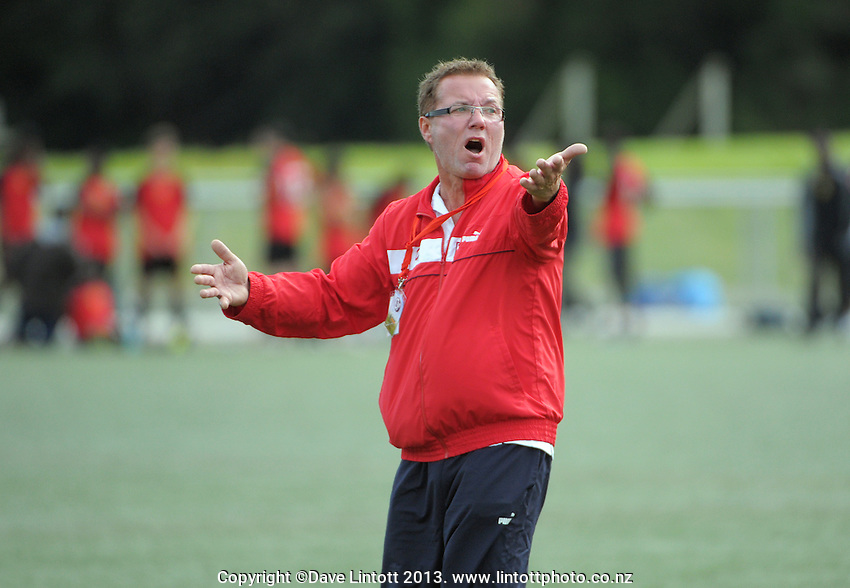 Action from the match between Poland (coach, pictured) and Bula Boys during the 2013 NZ Communities Cup football tournament at Wakefield Park,  Wellington, New Zealand, on Saturday, 30 November 2013. Photo: Dave Lintott / lintottphoto.co.nz